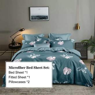 Hgmart HGMart Bed Sheet Set Collection - 4 Piece Brushed Microfiber Bedding Sheet Set - Fade and Stain Resistant Hypoallergenic Deep Pocket Bedspread Set - Blue Leaf, King Size
