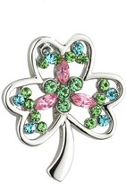 Tara Shamrock Brooch Rhodium Plated & Colored Gems Irish Made