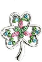Tara Shamrock Brooch Rhodium Plated & Colored Gems Mother's Day