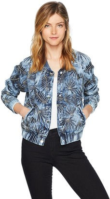 GUESS Women's Burnished Bomber Jacket Outerwear