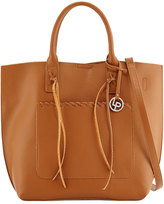 Linea Pelle Whipstitch-Trim Faux-Leather Tote Bag, Cognac