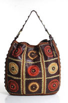 Isabella Fiore Multi-Color Leather Sheer Knit Detail Magnetic Poper Tote Large