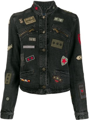 Giorgio Armani Pre Owned 1990s Patch-Detailed Denim Jacket