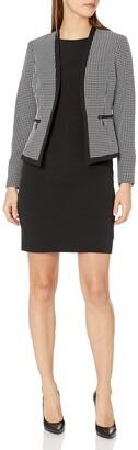 Le Suit LeSuit Women's Check Plaid Jacket with Zipper Pockets Dress Suit