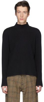 Our Legacy Black Mock Neck Artistic Long Sleeve Pullover