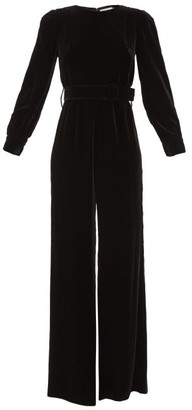 Goat King Flared-leg Velvet Jumpsuit - Black