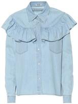 Miu Miu Ruffled denim blouse