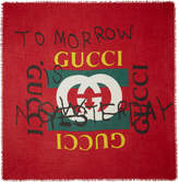 Gucci Red Tomorrow Logo Shawl