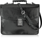 L.a.p.a. Classic Black Leather Briefcase