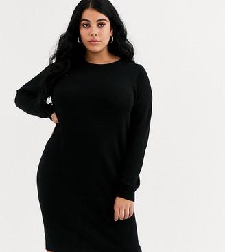Brave Soul Plus grungy round neck sweater dress