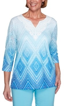 Alfred Dunner Petite Sea You There Diamond Lace Ombre Knit Top