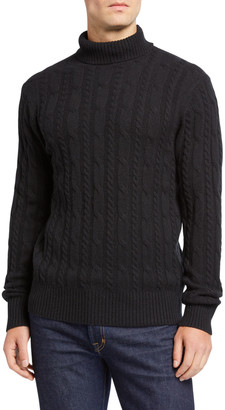 Neiman Marcus Men's Cable-Knit Turtleneck Sweater