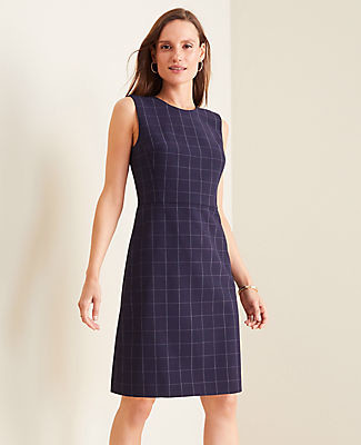 Ann Taylor The Petite Sheath Dress in Navy Windowpane Bi-Stretch