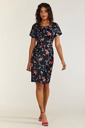 Yumi Oriental Bird Print Pocket Day Dress