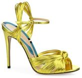 Gucci Allie Knotted Metallic Leather Sandals