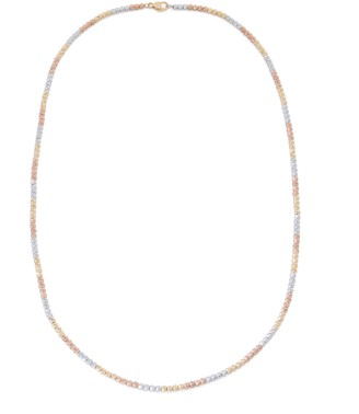 "Sterling Silver 18"" Tri-Color Diamond Cut Bead Necklace"