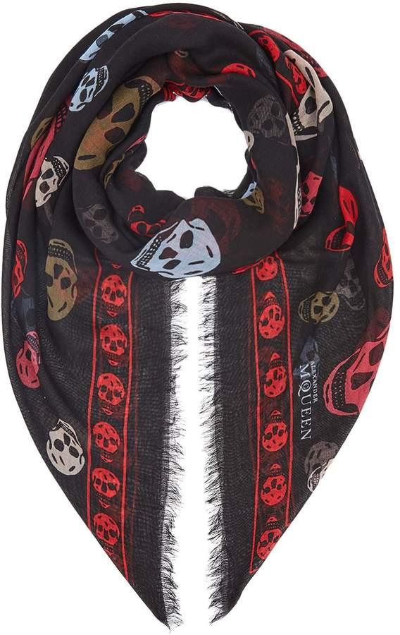 Alexander McQueen Multi-Coloured Skull Silk Scarf
