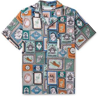 Desmond & Dempsey Camp-Collar Printed Linen Pyjama Shirt