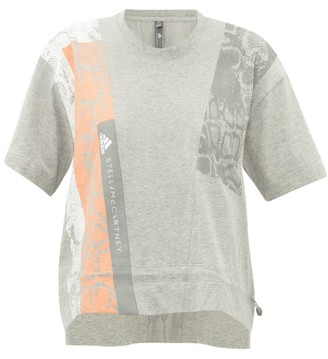 adidas by Stella McCartney Cropped Snake-print Cotton-jersey T-shirt - Womens - Grey Multi