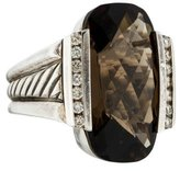 David Yurman Smoky Quartz & Diamond Deco Ring