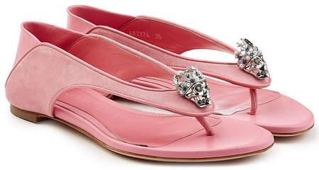 Alexander McQueen Suede Sandals with Embellishment