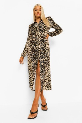 boohoo Leopard Belted Maxi Shirt Dress
