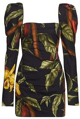 Johanna Ortiz Gathering Nature Printed Puff-Sleeve Mini Dress
