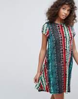 Glamorous Cap Sleeves Printed Swing Dress