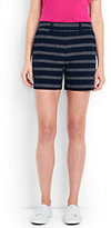 "Lands' End Women's Petite Not-Too-Low Rise 5"" Chino Shorts-Navy Dobby Stripe"