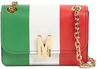 Moschino Italian Slogan Leather Shoulder Bag