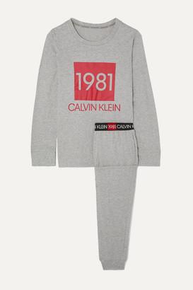 Calvin Klein Underwear Printed Cotton-jersey Pajama Set - Gray