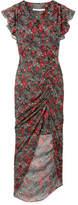 Veronica Beard Cecile Ruffled Floral-print Silk-chiffon Maxi Dress - Green
