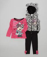 Children's Apparel Network Hot Pink Leopard 'New Season' Pants Set - Girls