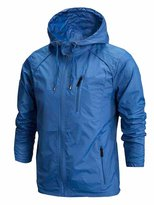 OCHENTA Men's Front-Zip Lightweight Hooded Rain Windbreaker Jacket Sky Blue Tag 4XL