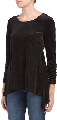 Ruched Sleeve Sparkle Top