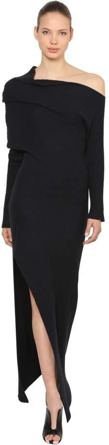 Roberto Cavalli Asymmetric Wool Blend Knit Dress