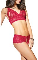 bandi das Women's Sexy Hollow Out Lace Bra Crotchless Lace Thong Panty Lingerie Set Sleepwear