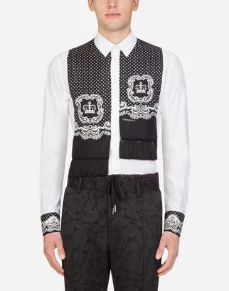 Dolce & Gabbana Gold Cotton Shirt With Silk Scarf In Bandana Print