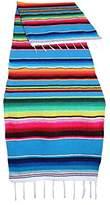 "Genuine Mexican Table Runner Saltillo Serape Colorful Striped Sarape Made in Mexico 83"" x 14"" (83"" x 14"", Light Blue)"