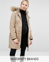 Mama Licious Mama.licious Mamalicious Faux Fur Trimmed Hooded Parka Coat