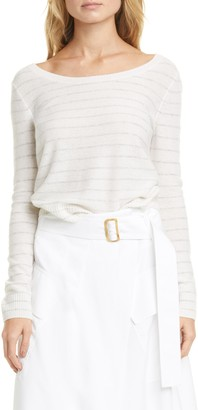 Vince Stripe Ballet Neck Cashmere Sweater
