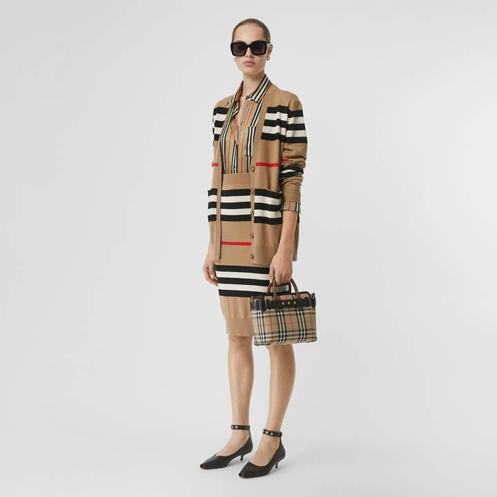 Burberry Icon Stripe Merino Wool Cardigan