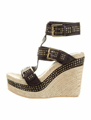 Alexander McQueen Leather Studded Accents Espadrilles Black