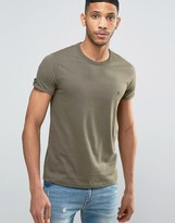 French Connection T-shirt With Roll Up Button Sleeve