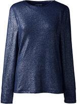Classic Women's Plus Size Long Sleeve Metallic Print Crew-Gray Heather Metallic