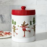 Crate & Barrel Skating Reindeer Cookie Jar