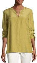 Lafayette 148 New York York Matte Silk Blouse, Green