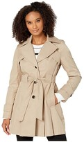 Via Spiga Single Breasted Hooded Belted Trench (Sand) Women's Coat
