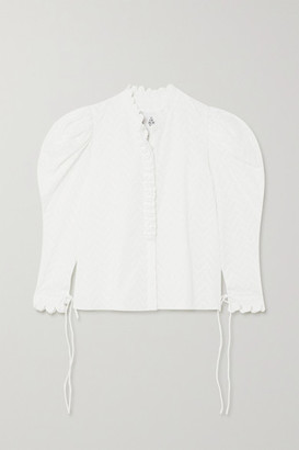 Horror Vacui Frieda Ruffled Swiss-dot Cotton Blouse - White