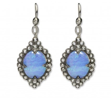 Cathy Waterman excellent (EX) Boulder Opal & Diamond Lace Drop Earrings